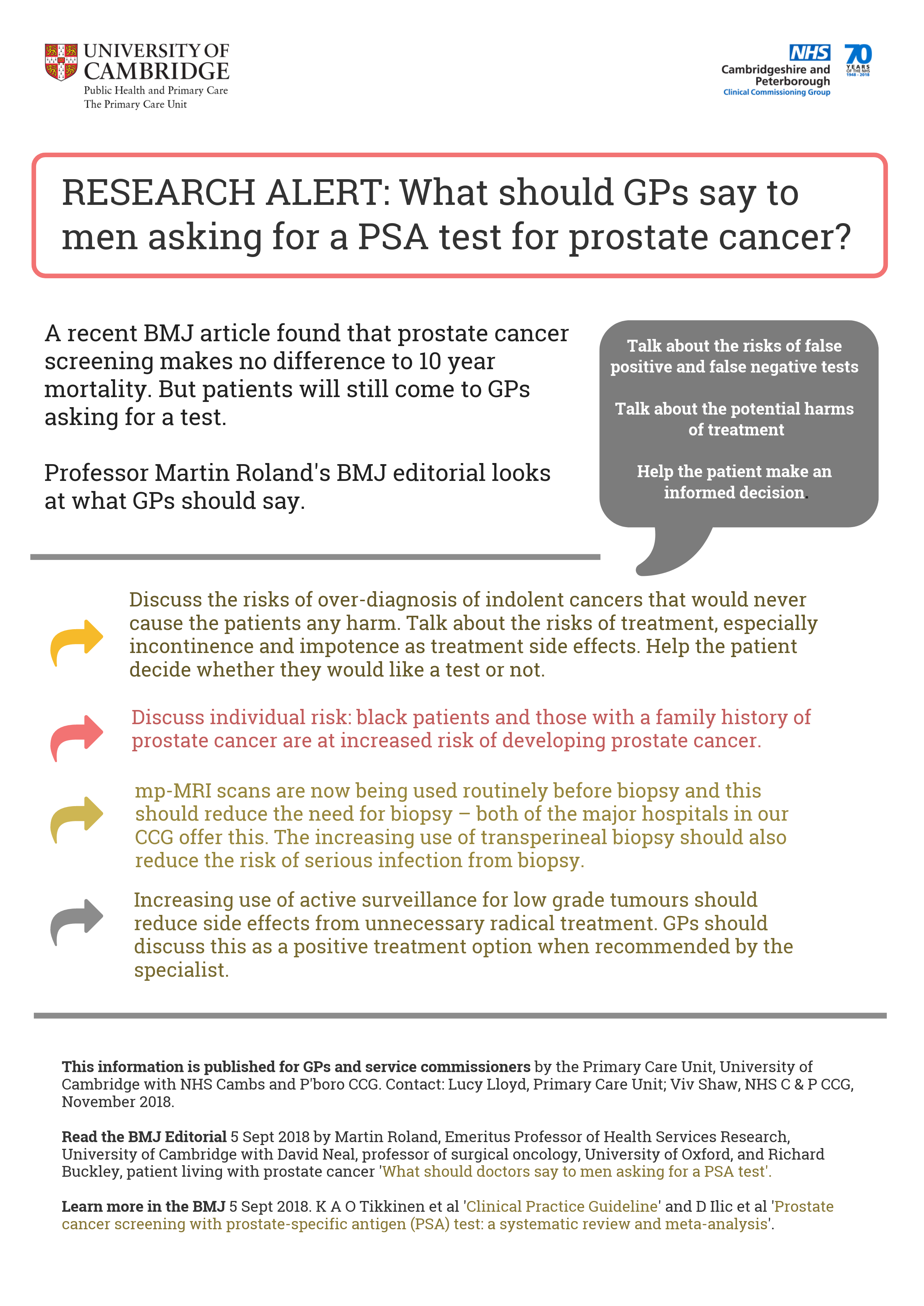 RESEARCH ALERT: What should GPs say to men asking for a PSA