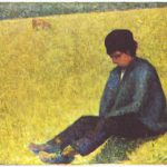 painting of boy in field