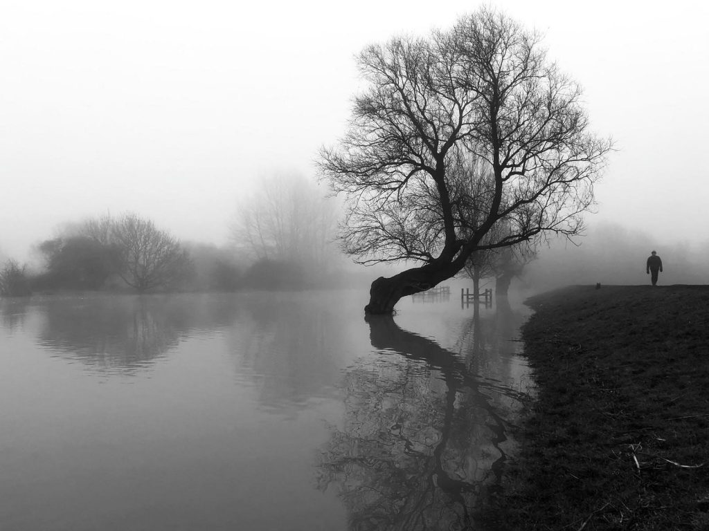 river view with tree and figure black and white