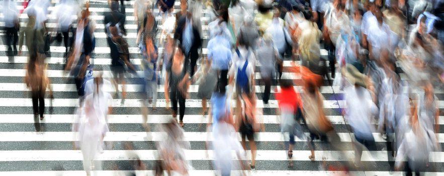 crowd of pedestrians